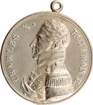 Charles X, sacre du Roi, médaille populaire en étain, 1825