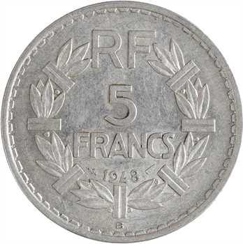 IVe République, 5 francs Lavrillier aluminium, 1948 Beaumont-le-Roger