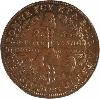 Constitution, Caisse de Bonne Foi, 6 blancs ou 2 sols 6 deniers, An 3, 1791