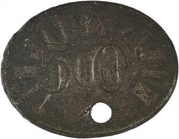 Algérie, Constantine, les mines de Taghit, 50 centimes perforé, s.d