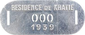 Indochine, Cambodge, Kratie (Résidence de), plaque de taxe n° 000, 1939
