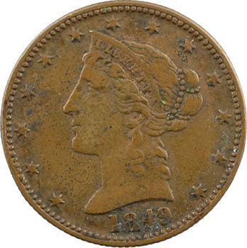 États-Unis, la Californie, jeton (de jeu ?) au module half eagle, 1849