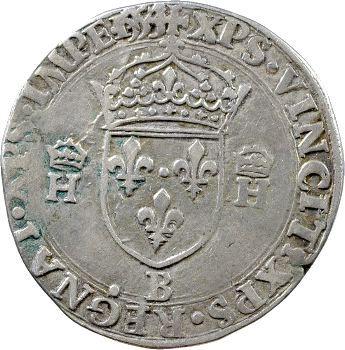 Henri II, teston à la tête nue 1er type, 1554 Rouen