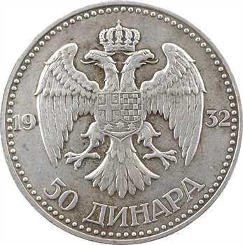 Yougoslavie, Alexandre Ier, 50 dinars, 1932