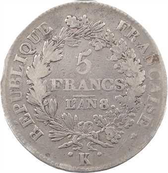 Directoire, 5 francs Union et Force, An 8/6 Bordeaux