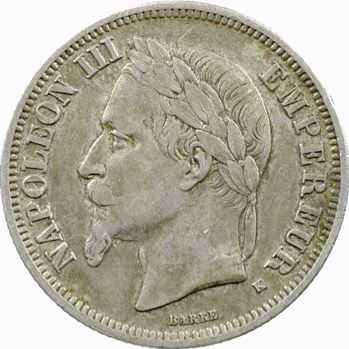 Second Empire, 2 francs tête laurée, 1866 Bordeaux