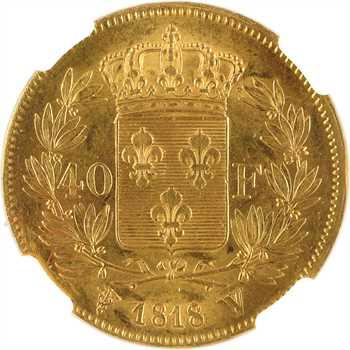 Louis XVIII, 40 francs, 1818 Lille, NGC MS63