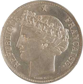 IIe République, épreuve uniface de 5 francs par Barre, s.d. (1848) Paris
