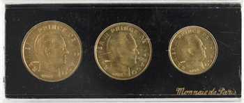 Monaco, Rainier III, coffret de trois essais 10, 20 et 50 centimes, 1962 Paris
