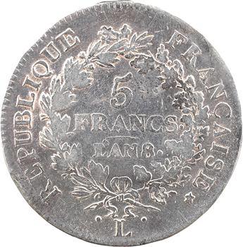 Directoire, 5 francs Union et Force, An 8/6 Bayonne