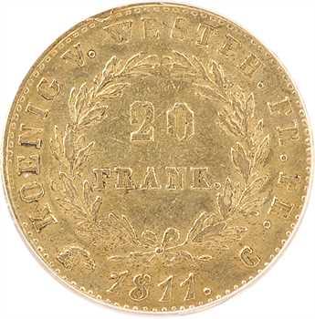 Allemagne, Westphalie (royaume de), Jérôme Napoléon, 20 franken, 1811 Cassel, PCGS AU55
