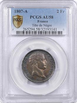 Premier Empire, 2 francs tête de nègre, PCGS AU58, 1807 Paris