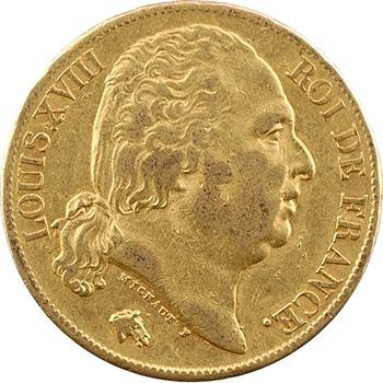 Louis XVIII, 20 francs buste nu, 1822 Paris