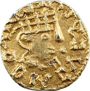 Aquitaine, Montignac ? (Haute-Vienne), triens fourré à la tête casquée, monétaire Leodomundo