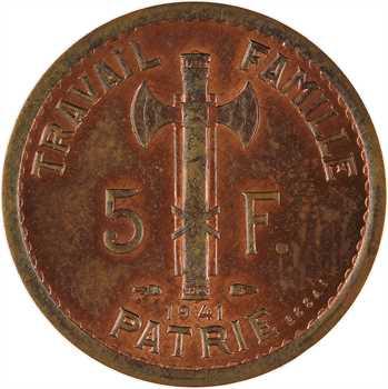 État français, essai double revers de 5 francs Pétain types II et III en cuivre, tranche lisse, 1941 Paris