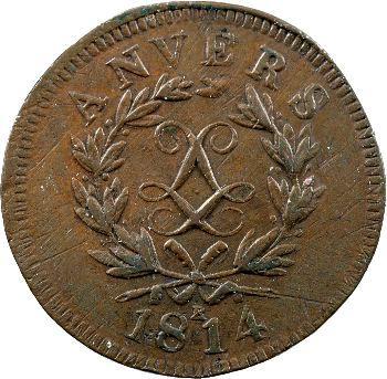 Louis XVIII, siège d'Anvers, 10 centimes, 1814