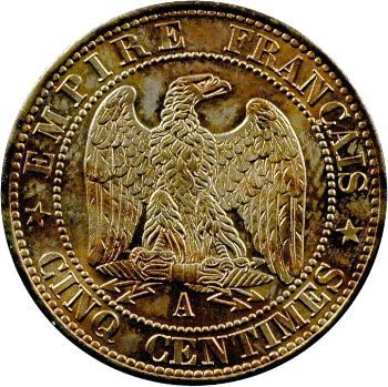 Second Empire, cinq centimes tête nue, 1853 Paris