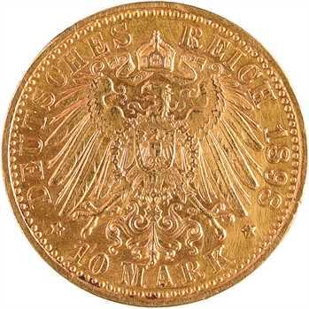 Allemagne, Wurtemberg (royaume de), Guillaume II, 10 mark, 1898 Stuttgart