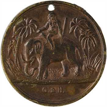 Indes françaises, rentiers de Calcutta, lion et éléphant, s.d. (Second Empire)
