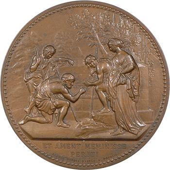 Dubois (A.) : les Bergers d'Arcadie, d'après Nicolas Poussin, médaille uniface, s.d.(1980) Paris