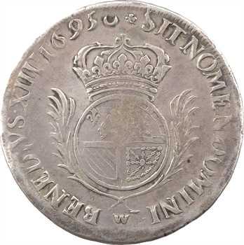 Louis XIV, écu de Flandre aux palmes, 1695 Lille