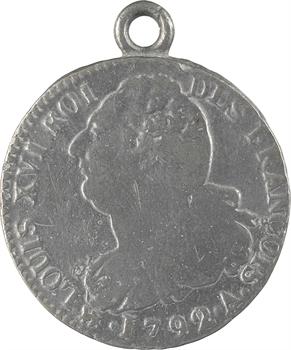 Constitution, 2 sols FRANÇOIS, An 4, 1792 Paris, variété en plomb
