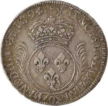 Louis XIV, écu aux palmes, 1694 Riom