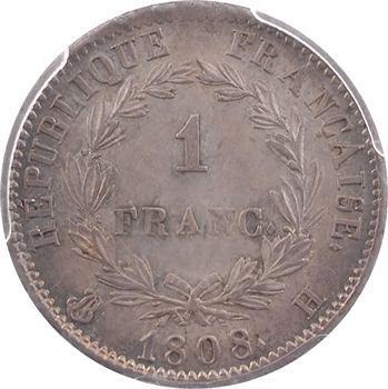 Premier Empire, 1 franc République, PCGS MS62, 1808 La Rochelle