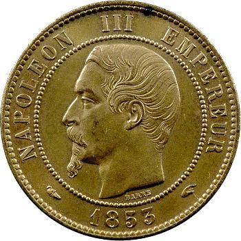Second Empire, dix centimes tête nue, 1853 Paris