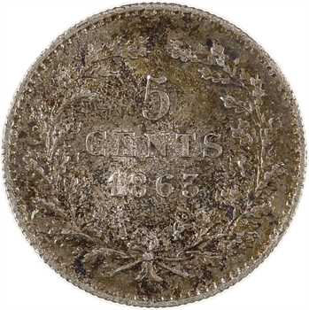 Pays-Bas, Guillaume III, 5 cents, 1863 Utrecht