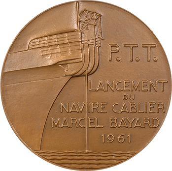 Ve République, Postes, Télégraphes et Téléphones (P.T.T.), lancement du navire cablier Marcel Bayard, par Pierre Turin, 1961 Paris
