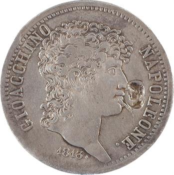 Italie, Naples et Deux-Siciles (royaume de), Murat, 5 lire, 1813 Naples, contremarque napoléonienne