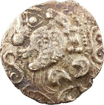 Aulerques Éburovices, hémistatère au loup et à la joue tatouée, c.IIe-Ier siècle