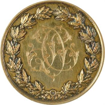Second Empire, médaille de mariage à double revers, dans sa boîte, 1866 Paris