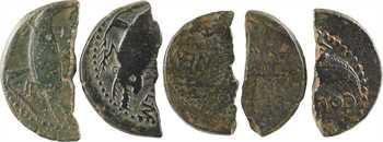 Nîmes, Auguste et Agrippa, lot de cinq as coupés, Nîmes, c.10-14