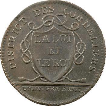 Paris, Constitution, jeton du district des Cordeliers, 1790