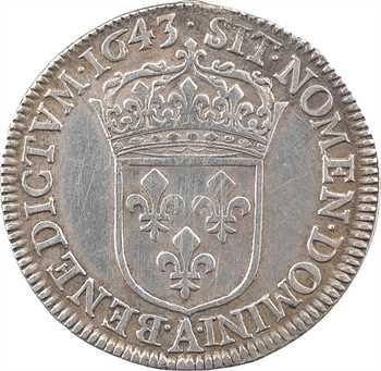 Louis XIV, quart d'écu à la mèche courte, 1643 Paris (point)