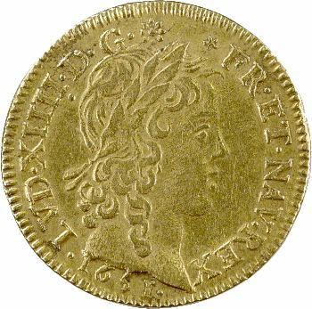 Louis XIV, louis d'or à la mèche longue, 1651 Paris