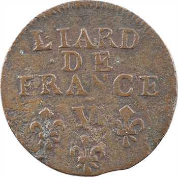 Louis XIV, liard de cuivre, 3e type, 1695 Troyes