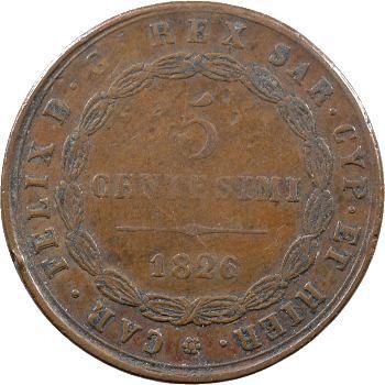 Italie, Savoie-Sardaigne, Charles-Félix, 5 centesimi, 1826 Gênes