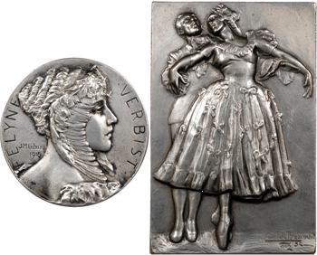 Belgique, la danseuse Félyne Verbyst, lot de 2 médailles en bronze-argenté, par De Bremaecker et Lubary, après 1905
