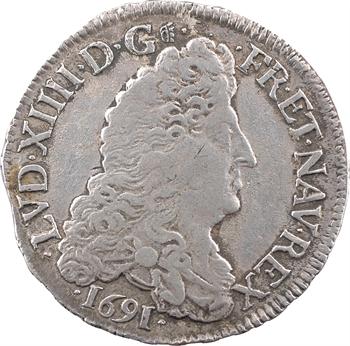 Louis XIV, demi-écu aux huit L, 1er type, 1691 Troyes