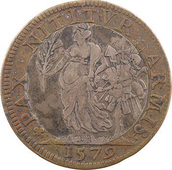 Henri III, l'édit de paix de Nérac (entre catholiques et protestants), jeton bimétallique, 1579 Paris