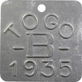 Togo, plaque de taxe, B, 1935