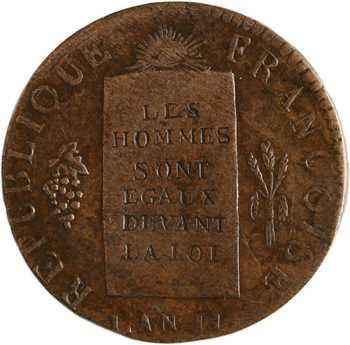 Convention, 1/2 sol aux balances refrappe, 1793 La Rochelle