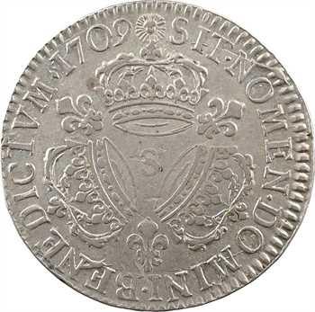 Louis XIV, demi-écu aux trois couronnes, 1709 Reims
