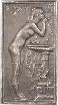 Daniel-Dupuis (J.-B.) : la Source ou Chloé à la vasque, plaque argent, s.d. Paris