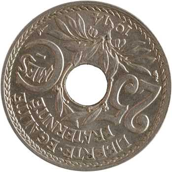 IIIe République, 25 centimes Lindauer, variété quasiment frappe médaille, 1914 Paris