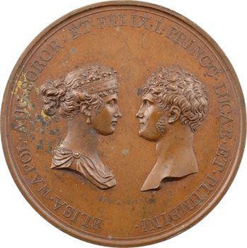 Italie, Elisa Bonaparte et Félix Baciocchi, création de l'Académie de Lucques, par Santarelli, 1807