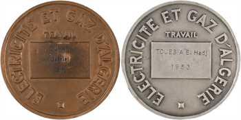 Algérie, électricité et gaz d'Algérie, lot de 2 médailles, argent et bronze, s.d. (1953) Paris